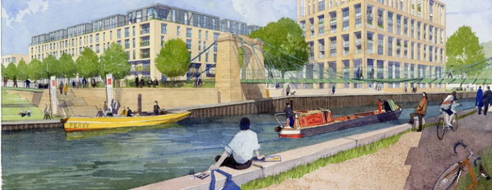 Bath Western Riverside man sitting on south bank