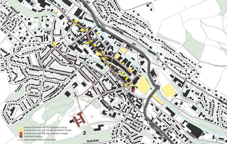 This map shows the main walking routes of school pupils to get their food and existing food shops that are available for them in the town center area. However, this also shows that there are more locally owned food shops than those big brand supermarket or chain stores. As a result, this reflects potential to change to provide healthier and more locally sourced food in short term.